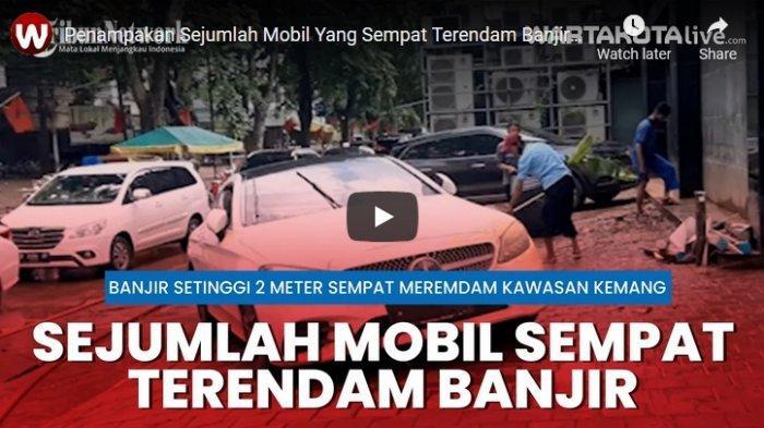 VIDEO Penampakan Sejumlah Mobil Mewah Terendam Banjir di Kemang