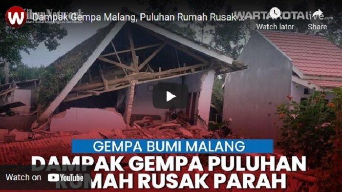 VIDEO Dampak Gempa Malang, Puluhan Rumah Rusak Parah
