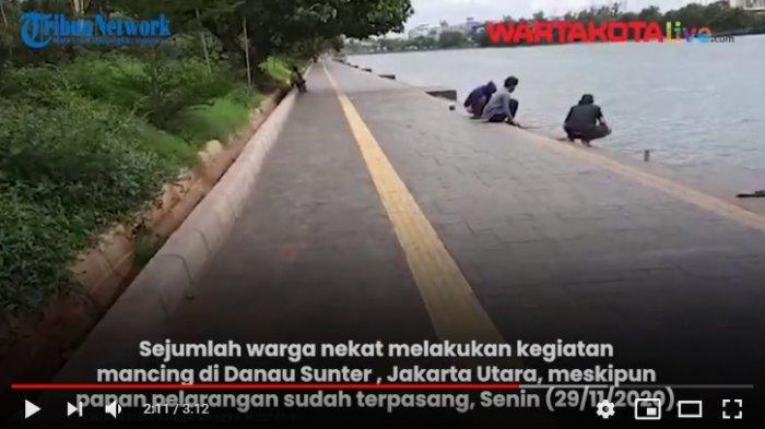 VIDEO Warga Tetap Nekat Mancing di Danau Sunter, Meski Sudah Ada Tanda Larangan Memancing