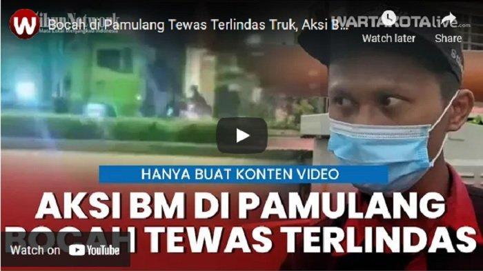 VIDEO Gerombolan Bocah Hentikan Truk yang Melaju, Seorang di Antaranya Tewas Tertabrak