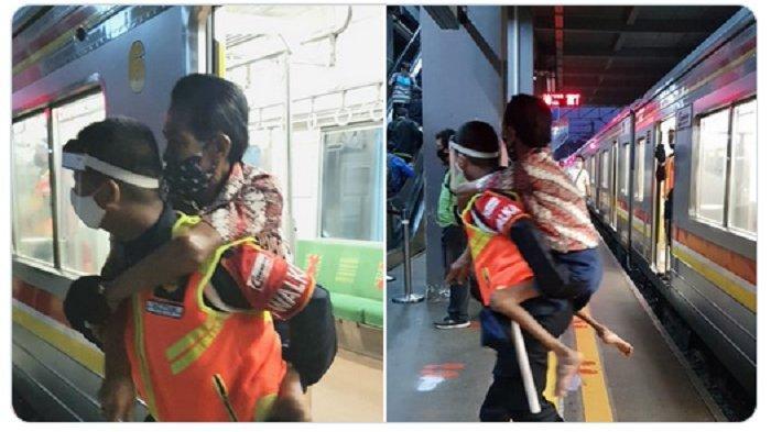 VIRAL TERKONFIRMASI, Aksi Heroik Petugas KRL Gendong Difabel, Begini Pernyataan Resmi PT KCI