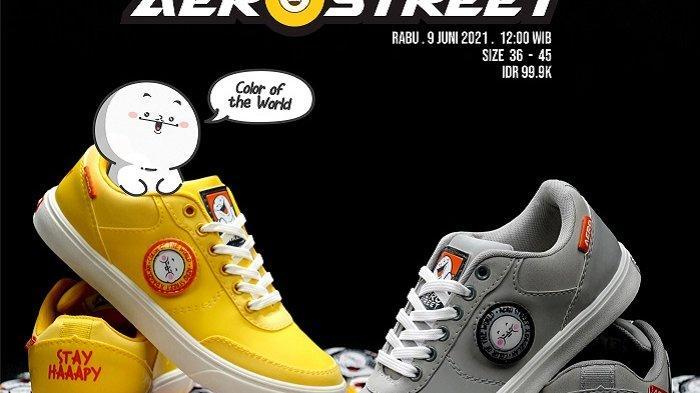 Sepatu Kuning dan Abu-abu Hasil Kolaborasi Aerostreet dan Dagelan Diskon 50 Persen