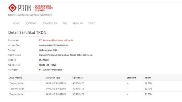 Sertifikasi Samsung Galaxy S21 yang terdaftar di laman Tingkat Kandungan Dalam Negeri (TKDN) Kemenperin RI