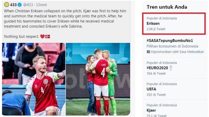Eriksen Trending, Netizen Merinding dengan Reaksi Terhadap Eriksen, Namun Kagum Terkait Penanganan