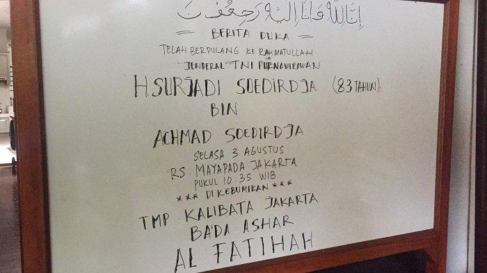 Sore Ini Jenazah Mantan Gubernur DKI Jakarta Soerjadi Soedirdja Dimakamkan di TMP Kalibata