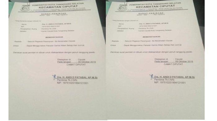 Beredar Surat Perintah Wajib Pakai Gamis Hitam di Kecamatan Ciputat, Begini kata Camatnya