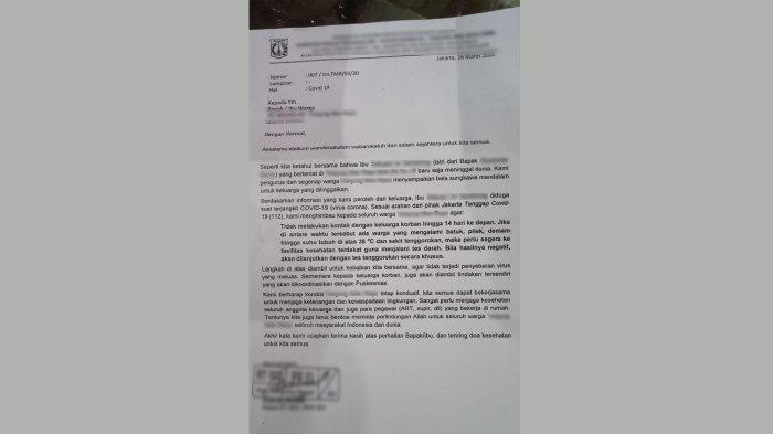 Surat Edaran Ketua RT Bikin Panik, Warga Tanjung Barat Dikabarkan Meninggal Karena Virus Corona