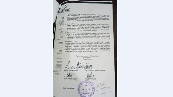 Surat Pemberitahuan Rencana Gugatan Warga ke Jokowi Terkait Tsunami Banten, Sudah Dilayangkan