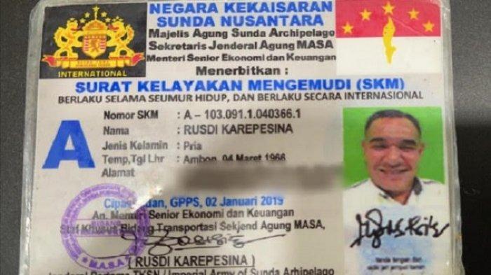 Surat kelayakan mengemudi terbitan Kekaisaran Sunda Nusantara