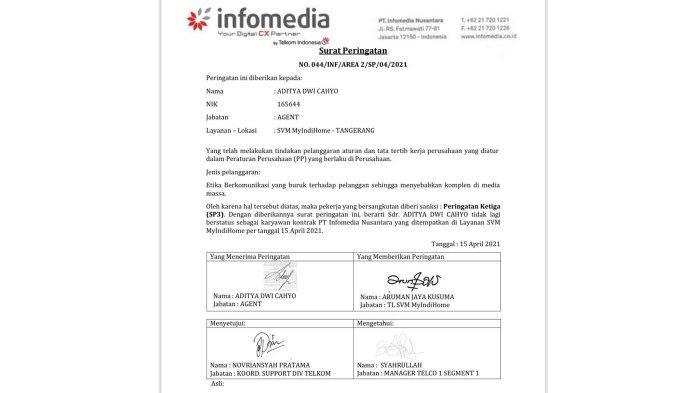 Bersikap Kasar ke Pelanggan, PT Infomedia Nusantara Pecat Aditya, Customer Service Indihome