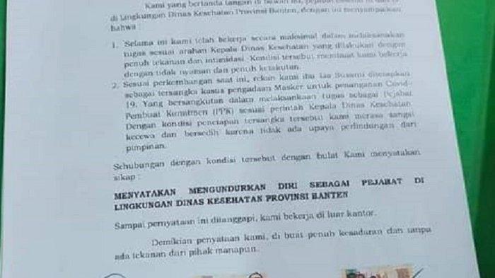 Kepala BKD Klarifikasi terkait 20 Pejabat Dinkes Pemprov Banten Mengundurkan Diri