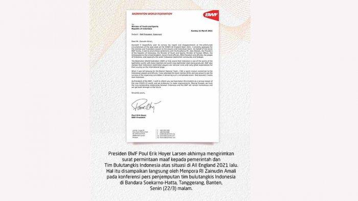 Surat permohonan maaf dari Presiden BWF Paul-Erik Hoyer Larsen kepada pemerintah Indonesia atas kejadian di All England