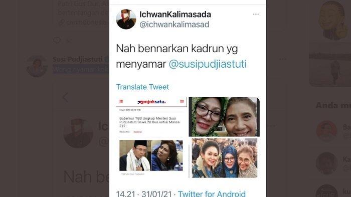 Susi Pudjiastuti kini dituding Kadrun yang menyamar setelah sebelumnya minta unfollow akun Abu Janda alias Permadi Arya.