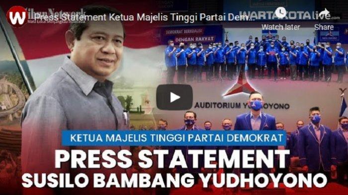 VIDEO Pernyataan Resmi Ketua Majelis Tinggi Partai Demokrat SBY Soal KLB di Deli Serdang