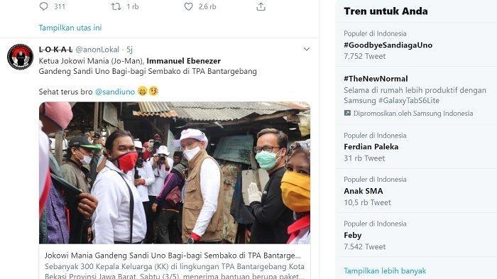 GoodbyeSandiagaUno Trending Twitter, Ini Alasan Sandiaga Uno Bagikan Sembako Bersama Relawan Jokowi