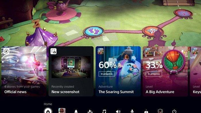 Tampilan halaman Homescreen PS5 atau PlayStation 5
