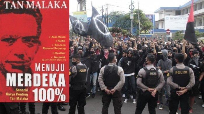 Ilustrasi kelompok massa beratribut serba hitam pada aksi demonstrasi menolak Omnibus Law dihadang polisi, Rabu (7/10/2020). Di Banten, buku Tan Malaka jadi barang bukti dari pendemo yang tertangkap