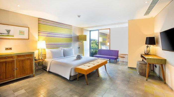 Interior dan suasana kamar di hotel butik Tijili Seminyak, Bali