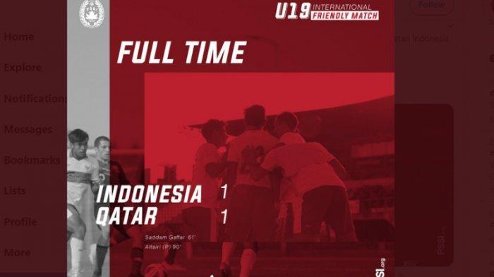 Timnas U-19 Indonesia Ditahan Imbang oleh Qatar 1-1 di Laga Uji Coba Kedua, Kebobolan di Menit Akhir