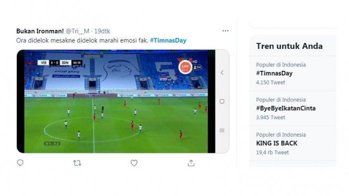 #Timnasday trending menyusul kekalahan timnas Indonesia oleh Vietnam 4-0. Itu merupakan kekalahan terbesar Indonesia oleh Vietnam. Hasil itu membuat Vietnam lolos ke babak ketiga.