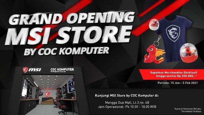 Toko eksklusif dan terlengkap MSI Store by COC Komputer resmi dibuka di Mal Mangga Dua Lantai 3 No. 4B, Jakarta Pusat, Jumat (15/1/2021), dan menyediakan beragam marchandise eksklusif.