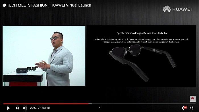 Tangkapan Layar - Training Director Huawei Consumer Business Group Indonesia Edi Supartono menjelaskan perangkat kacamata pintar Huawei Gentle Monster Eyewear II saat peluncuran secara virtual melalui kanal Youtube HUAWEI Indonesia, Kamis (22/10/2020).
