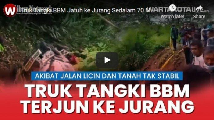 VIDEO Truk Tangki BBM Terjun ke Jurang Sedalam 70 Meter di Cianjur, Evakuasi Terhalang Cuaca