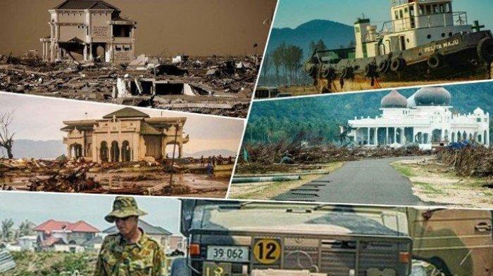 Kolase sejumlah gambar situasi tsunami Aceh tahun 2004 lalu. Hari ini persis 16 tahun lalu.