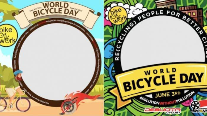 Ilustrasi Twibbon Ucapan World Bicycle Day 3 Juni 2021.
