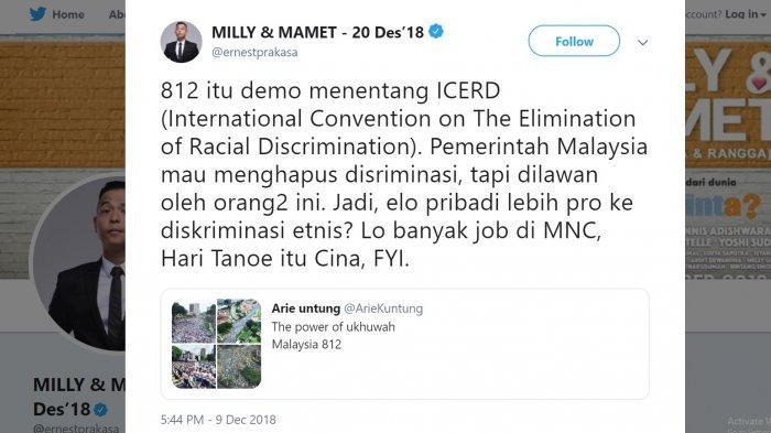 Arie Untung Unggah Aksi 812 Malaysia, Ernest: Jadi Lo Dukung Diskriminasi Ras? Lo Banyak Job di MNC
