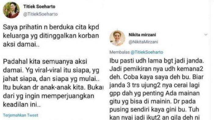 Balas Komentari Cuitan Titiek Soeharto, Nikita Mirzani: Sama-sama Perempuan Ini Nggak Usah Takut