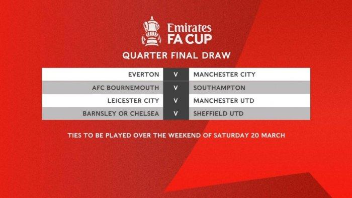 BREAKING NEWS Hasil Undian 8 Besar Piala FA. Leicester vs Manchester United,  Everton vs Man City