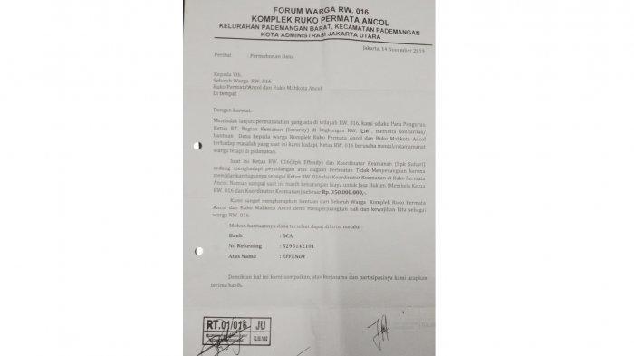 Heboh Surat Edaran Ketua Rt Pademangan Barat Minta Sumbangan Rp 350 Juta Untuk Mantan Ketua Rw Warta Kota