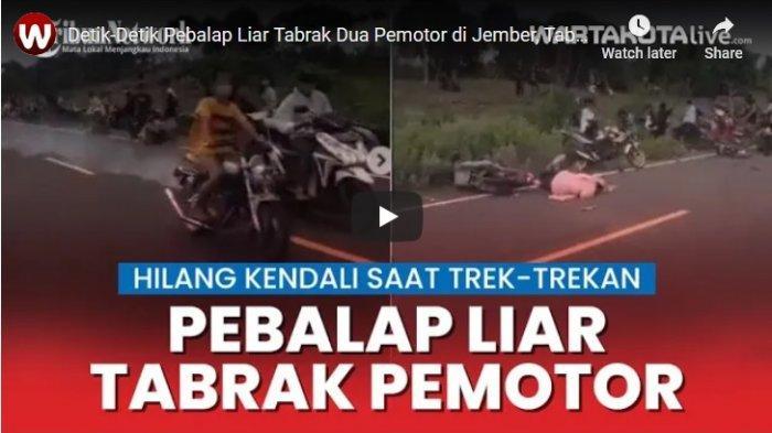 Detik-detik Pebalap Liar Tabrak Dua Pemotor di Jember, Tabrak Pengendara Ibu dan Balita