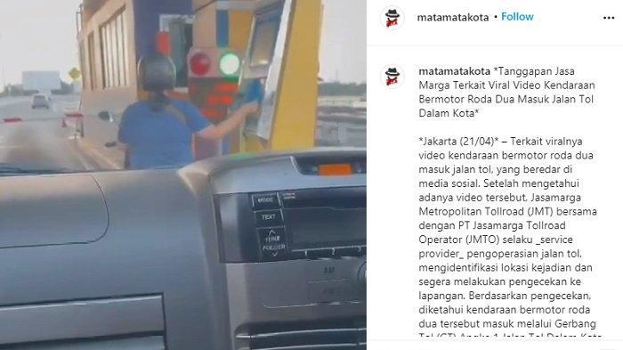 Viral Video Emak-emak Naik Motor Masuk Tol Angke 1 ke Arah Bandara, Cuek Tapping di Gerbang Tol