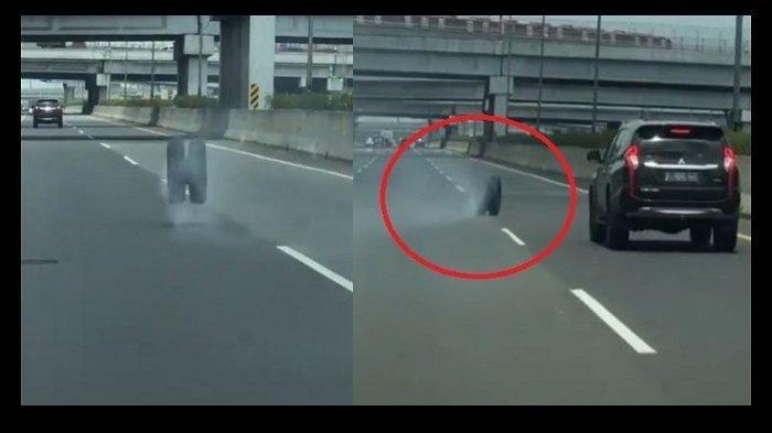 Video Viral Roda Truk Patah Menggelinding Liar di Tol Jagorawi, Mitsubishi Pajero Sport Banting Stir
