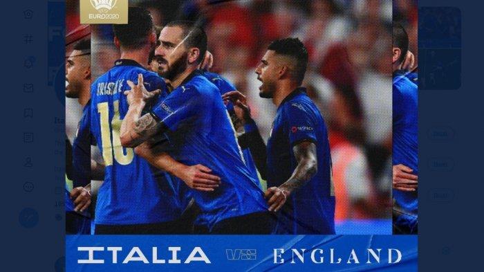 Hasil babak normal 90 menit Italia vs Inggris 1-1. Babak perpanjangan waktu 30 menit ditempuh.