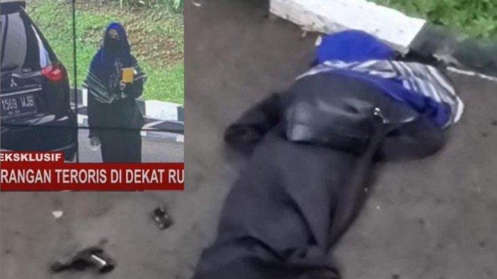 Seorang wanita terduga teroris ditembak mati di Mabes Polri, Jalan Trunojoyo, Jakarta, Rabu (31/3/2021).