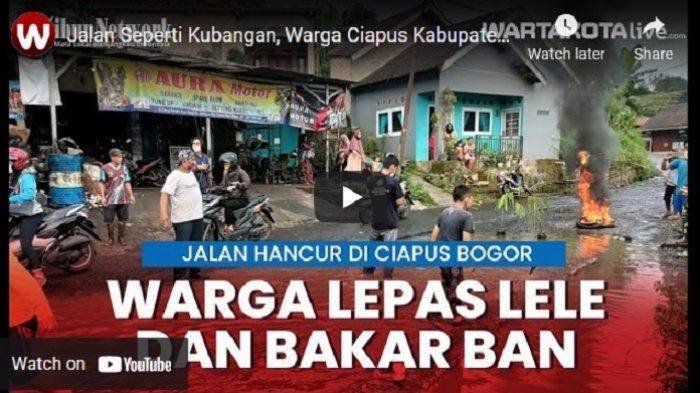 VIDEO Protes Jalan Rusak Tak Kunjung Diperbaiki, Warga Ciapus Kabupaten Bogor Lepas Ikan & Bakar Ban