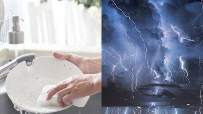 WASPADA Jangan Pernah Cuci Piring saat Hujan Petir, Nyawa Kita Bisa Terancam, Ini Alasannya