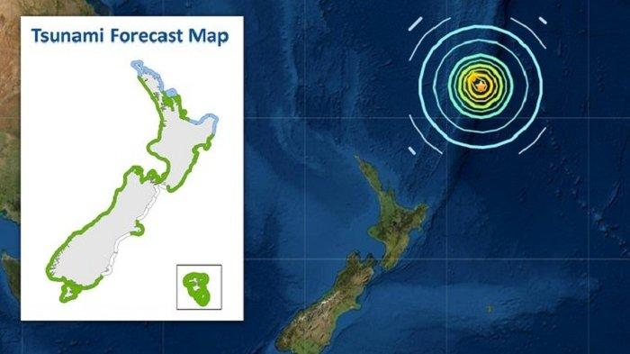 Waspada Tsunami. Peringatan tsunami diberikan setelah gempa terkuat di dunia mengguncang lautan pasifik Selandia Baru Jumat pagi ini.