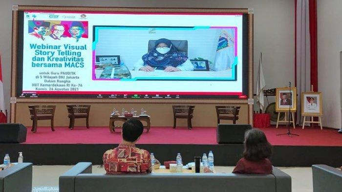 acara Visual Story Telling & Kreativitas bersama MACS dalam rangka memperingati HUT ke 76 kemerdekaan Republik Indonesia untuk guru TK/PAUD di 5 Wilayah Jakarta, yang dipusatkan di Dinas Pendidikan DKI Jakarta, Jalan Gatot Subroto, menghadirkan narasumber Dra. Tika Bisono, M.Psi, Achmad Fauzan M.Pd (Kak Ojan) dan Rizky Haryo (Kak Kiki). diikuti sebanyak 1.200 guru TK/PAUD melalui webinar yang diselenggarakan oleh PT. Pelinda Sarana Sukses/ MACS bekerjasama dengan Pusat Kajian Pendidikan dan Budaya Dewantara/ Yayasan Karakter Pancasila,