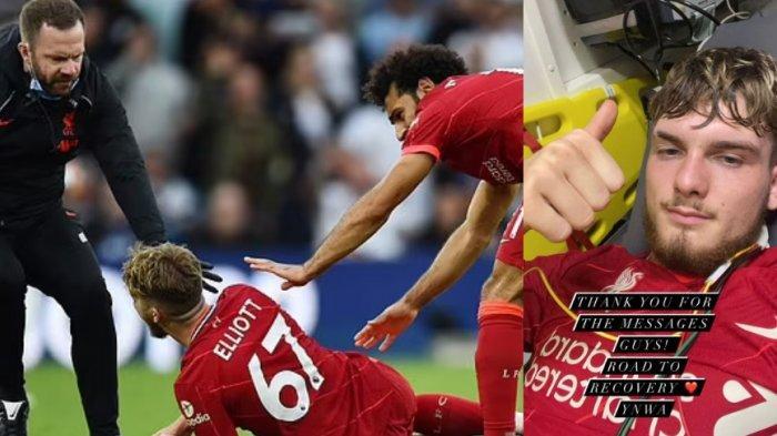 Mohammed Salah menghampiri wonderkid Liverpool, Harvey Elliott yang mengalami cedera berat karena ketiban bek Leeds United, Pascal Struijk. Elliot kemudian dibawa ke RS, Liverpool menang 3-0 atas Leeds United dan masuk 3 besar klasemen