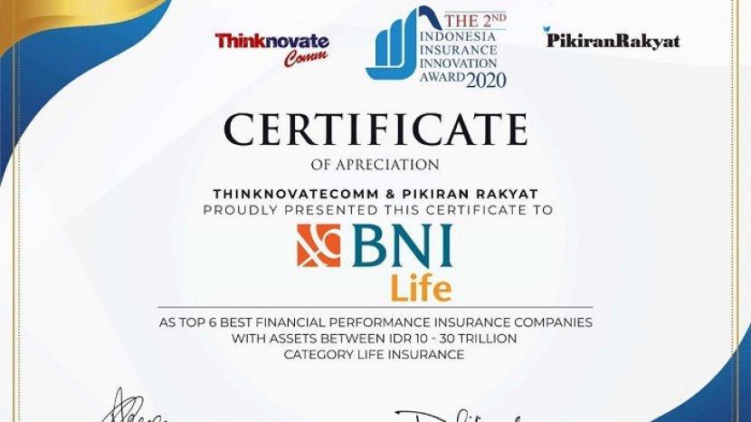 Bni Life Raih Predikat Best Financial Performance Di Indonesia Insurance Innovation Award 2020 Warta Kota