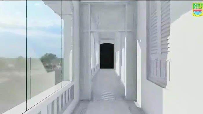 Salah satu selasar di Gedung Juang 45 Tambun kini ditutup kaca agar terlindung dari cuaca.