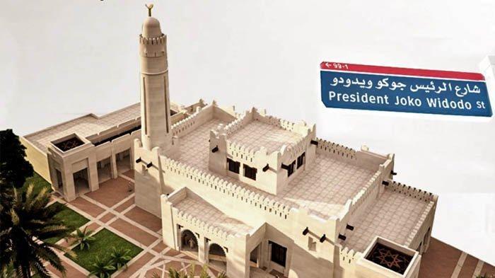 Maket Masjid Joko Widodo, yang akan dibangun di Abu Dhabi, Uni Emirat Arab.