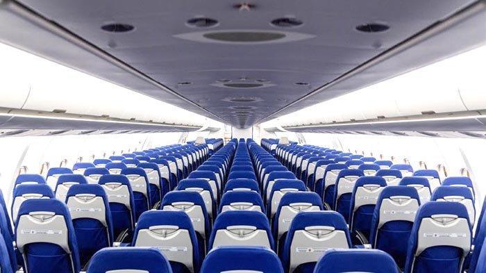 Tampilan kabin kelas ekonomi pesawat A330-900NEO Lion Air dengan konfigurasi tempat duduk 3-3-3.