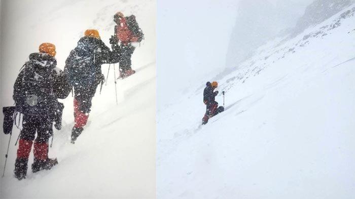 Tim Indonesia Seven Summits Expedition Mahitala Unpar berjalan turun dari puncak Gunung Aconcagua dalam keadaan badai, pada 9 Januari 2011.