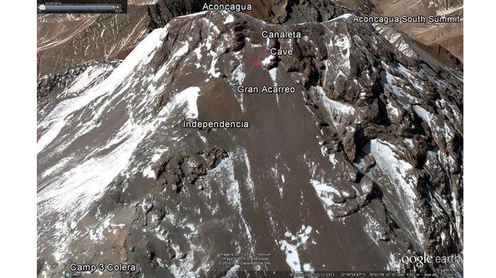 Tampilan di Google Earth tempat Max jatuh dalam perjalanan turun dari Puncak Aconcagua.