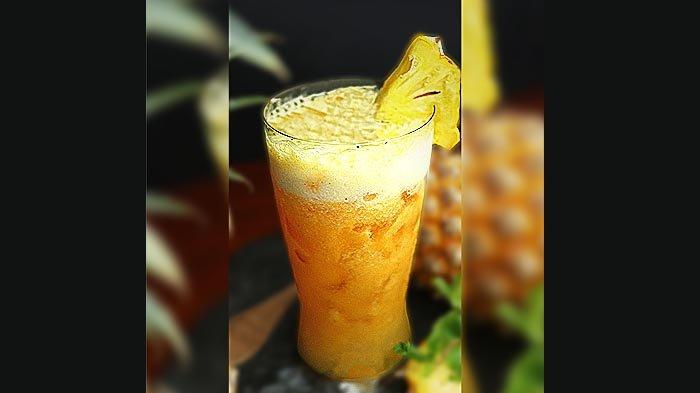Pinepeach Splash, moctail berbahan dasar nanas, yang ditawarkan Hotel Santika Premiere Bintaro selama Mei 2021.
